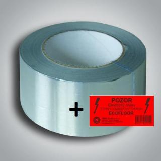 Samolepící hliníková páska 50mm x 50m s výstražným štítkem