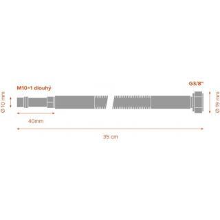 "Nerezová hadice k baterii MERABELL Aqua  G3/8"" – M10x1 L 35 cm - sada obr.2"