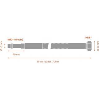 "Nerezová hadice k baterii MERABELL Aqua  G3/8"" – M10x1 L 70 cm - sada obr.2"
